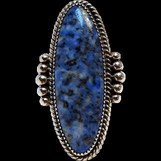 Native American Begay sterling silver denim lapis ring