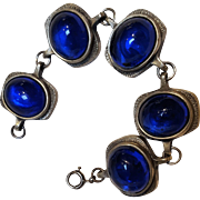 R.Tennesmed pewter bracelet blue glass cabochon