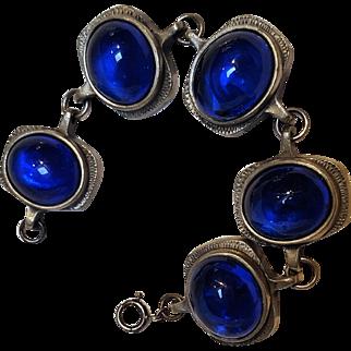 R.Tennesmed pewter bracelet blue glass cabochon