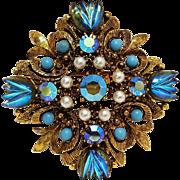 Florenza Maltese cross pin pendant molded glass fruit salad stones