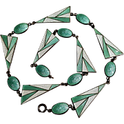 Art Deco sterling silver enamel necklace guilloche basse-taille