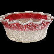Victorian Hobbs Brockunier rubina  craquelle overshot art glass fruit bowl