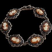 Sterling silver shell cameo marcasite bracelet