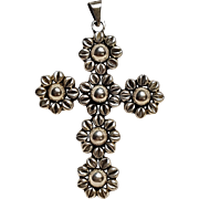 Taxco sterling silver cross pendant flowers Mexico