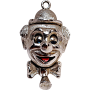 Monet mechanical clown charm pendant