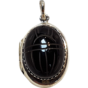 Sterling silver scarab locket pendant black onyx