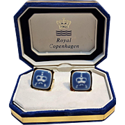 Royal Copenhagen porcelain cufflinks 1960's Swank in box