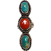 Native American sterling silver turquoise coral ring