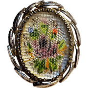 Whiting Davis painted glass petit point ring