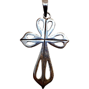 Taxco Mexico sterling silver cut work cross pendant