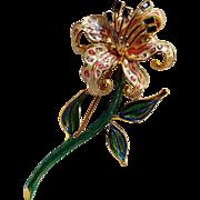 Bob Mackie lily pin rhinestone  enamel