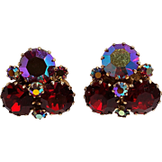 Weiss red aurora borealis rhinestone clip earrings