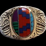 Carol Felley multi stone inlay ring Zuni bird