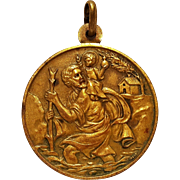Saint Christopher Pope and Vatican brass medal with brilliant