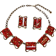 Pam Lucite confetti necklace earrings red gold