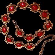 Matisse red enamel copper necklace