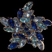 Starfish star  pin blue rhinestone