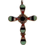 Sterling silver multi stone inlay cross pendant