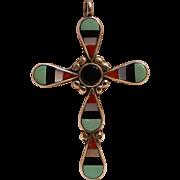Sterling silver multi stone inlay cross pendant