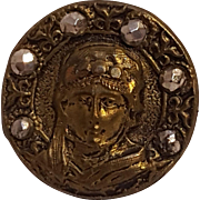 Sarah Bernhardt as Theodora button brass cut steel