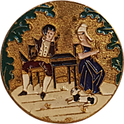 Champleve enamel on brass button courting couple