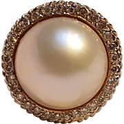 14K Gold ring Mabe pearl diamonds