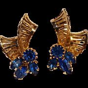 Kramer New York blue rhinestone ribbon earrings