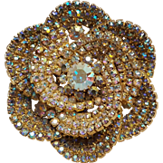 Aurora borealis rhinestone flower pin