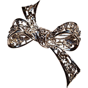 Danecraft sterling silver ribbon pin floral motif