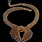 Napier necklace four strand  fox chain rhinestone bow green