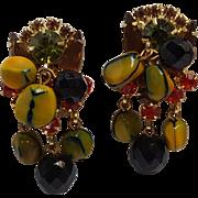 Juliana Carmen Miranda clip earrings cha-chas and bead drops