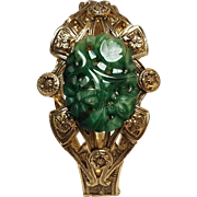 Whiting & Davis molded glass jade hinged  bracelet