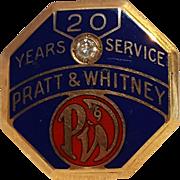 10K Gold enamel diamond hat badge Pratt & Whitney 20 years service award