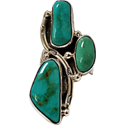 Southwest sterling silver turquoise ring H