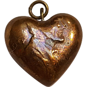 Folk Art copper penny heart charm Lincoln cent
