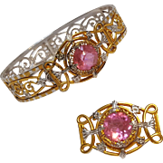 JJ White filigree hinged bracelet pin set pink stone