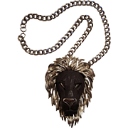 Razza black face lion pendant