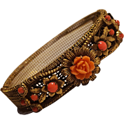 Celluloid rose hinged brass bangle bracelet