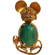 Art mouse pin green glass cabochon body