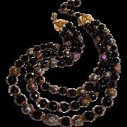 Trifari three strand glass bead necklace
