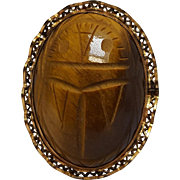 WRE Scarab tigers eye pin pendant gold filled