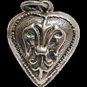 Sterling silver puffy heart charm fleur de lis