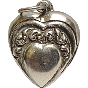 Sterling silver puffy heart charm floral crown