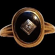 10K Gold onyx diamond pinky ring