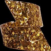 Lucite confetti cuff bracelet gold glitter
