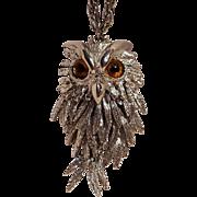 Owl pendant necklace glass eyes