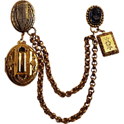 Fur clip locket 1940's chatelaine style