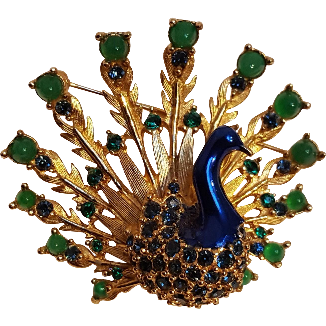 Boucher peacock pin  enamel glass cabochon rhinestone