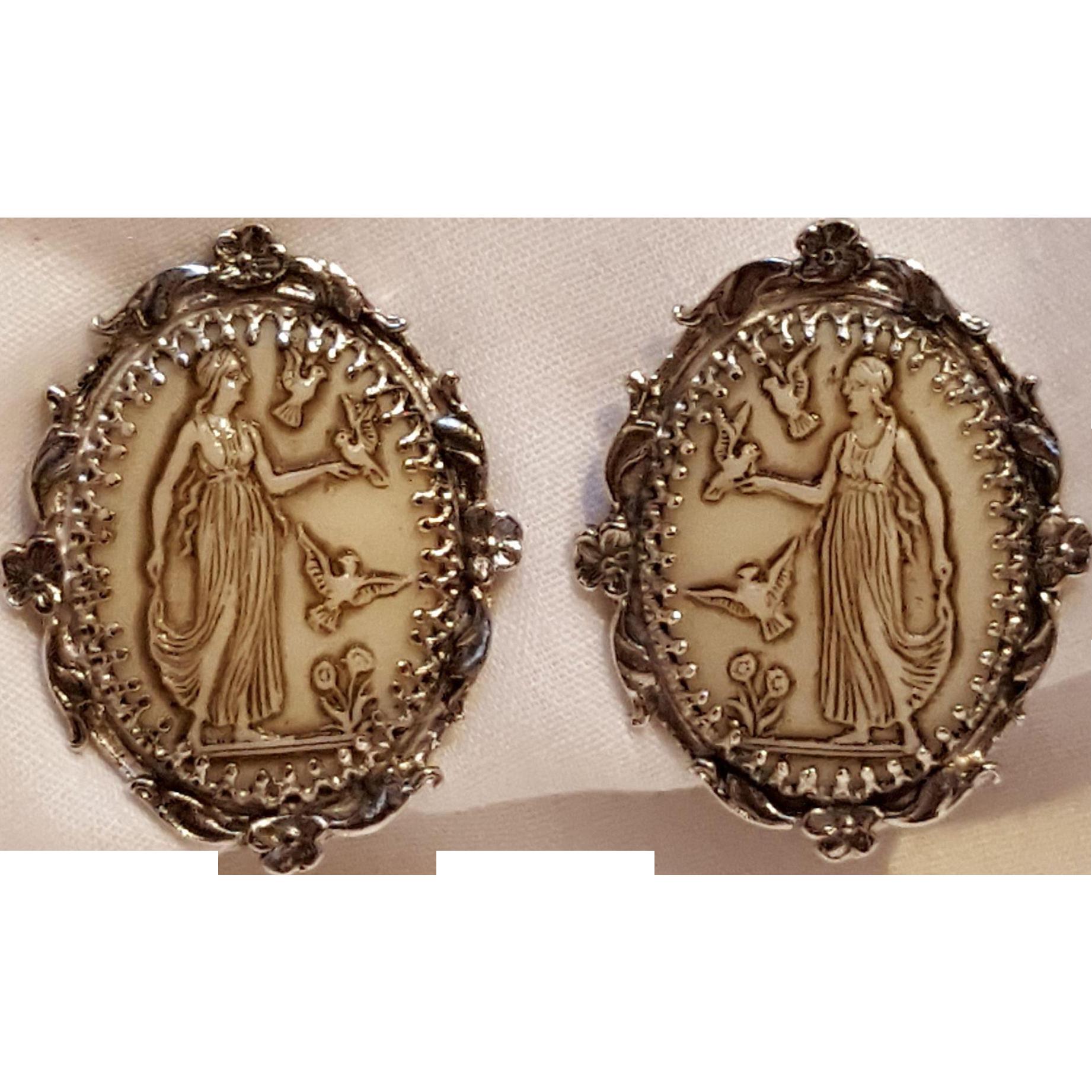 Whiting Davis clip earrings glass cameo maiden birds