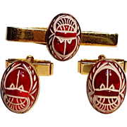 Red glass scarab cufflink tie clip set Pioneer